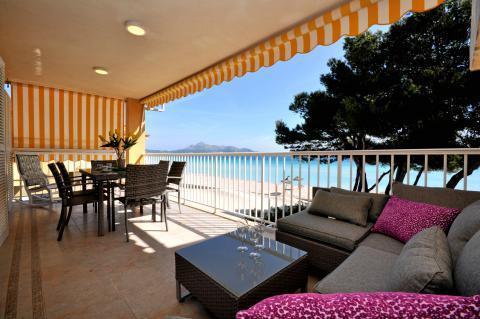 Strandurlaub Mallorca: Ferienwohnung für 5 Personen am Strand von Alcudia (Nr. 0416)