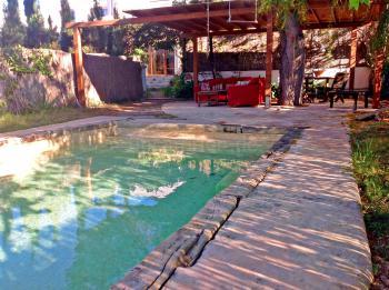Pool und überdachte Terrasse im Garten