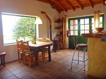 Wohnküche mit Essplatz und Kaminofen