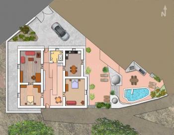 Grundriss Ferienhaus mit Pool