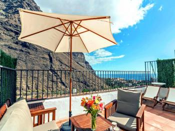 Ferienhaus mit Dachterrasse und Meerblick