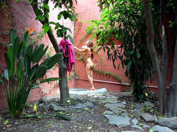 Privater Garten mit Dusche