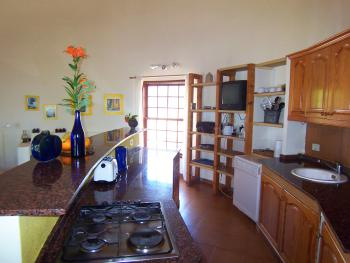 Küche und Wohnbereich im Turm-Apartment