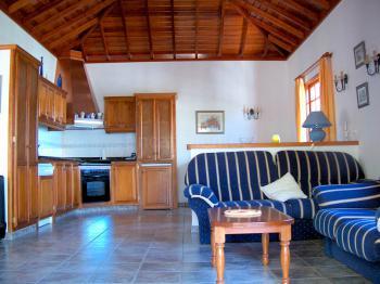 Großer Wohnraum mit moderner Küche