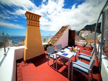 Ferienwohnung mit Dachterrasse und Meerblick