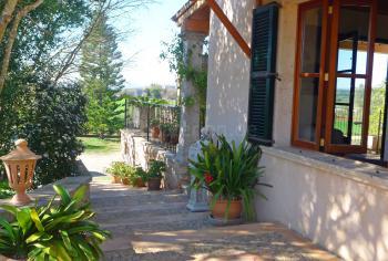 Blick zur Terrasse und in den Garten