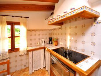 Küche mit Induktionsfeld und Geschirrspüler