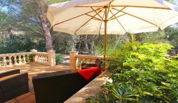 Blick in den Garten und zur privaten Terrasse