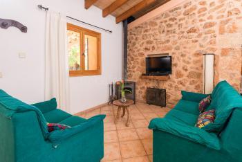 Wohnzimmer mit Klimaanlage und Holzofen