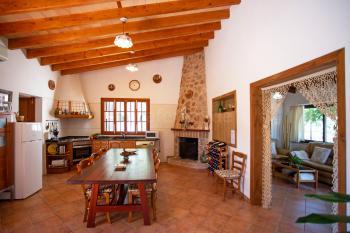 Küche mit Geschirrspüler und Kamin