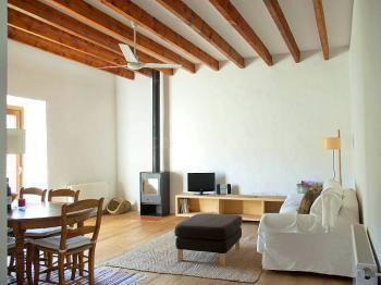 Wohnzimmer mit Kaminofen und Schlafcouch