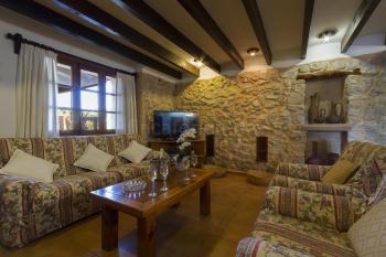 Wohnzimmer mit Natursteinwänden