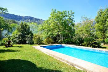 Pool, Rasen und mediterraner Garten