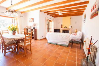 Wohnzimmer mit Sat-TV und Kamin