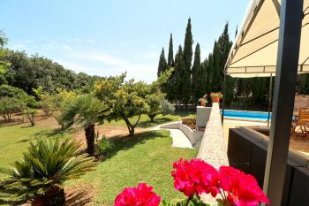 Terrasse mit Blick in den Garten,