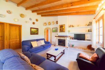 Wohnzimmer mit Kamin, Sat-TV und Internet