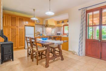 Esszimmer mit Kaminofen und offener Küche