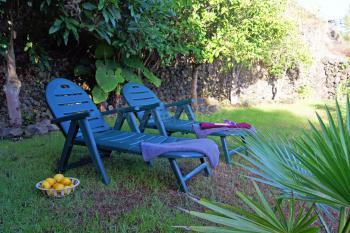 Garten mit Sonnenliegen - ideal zum Relaxen